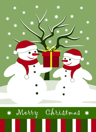 winter tree: vector christmas card with pair of snowmen with gift in snowy landscape