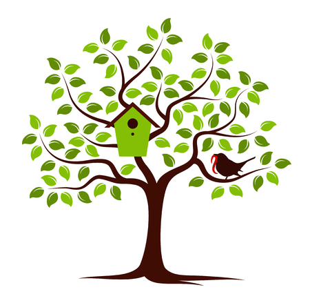 bird box: vector tree with nesting bird box and bird with worm isolated on white background Illustration