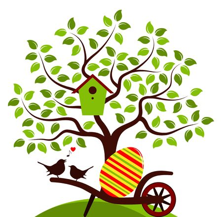 wheel barrow: vector tree with nesting bird box and wheel barrow with one big easter egg and couple of birds isolated on white background