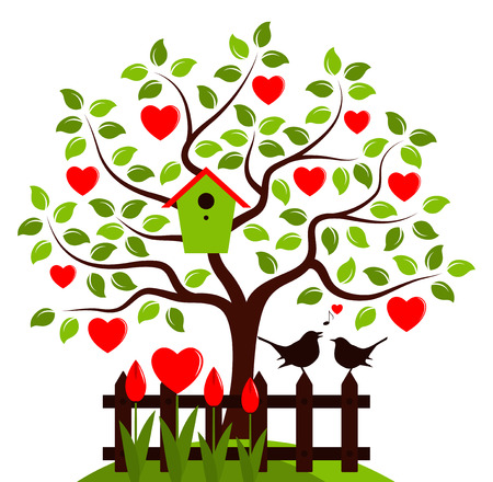 bird box: vector heart tree with nesting bird box and picket fence with couple of birds isolated on white background Illustration