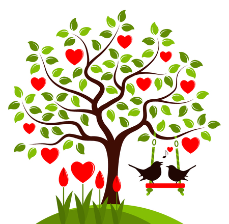 love tree: vector heart tree with swing and couple of birds isolated on white background