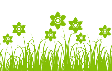 nature backgrounds: seamless vector daffodils border isolated on white background Illustration