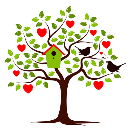 nesting: vector heart tree with nesting bird box and couple of birds isolated on white background Illustration