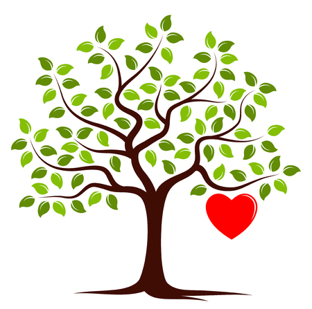 vector tree with one big heart isolated on white background