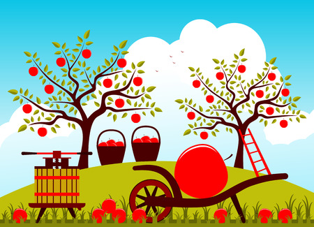 apple orchard: vector hand barrow with one big apple and fruit press in apple orchard