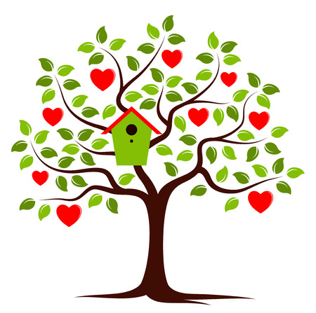 bird box: vector heart tree with nesting bird box isolated on white background