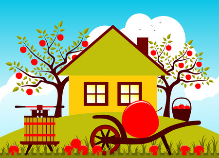 big apple: vector hand barrow with one big apple and fruit press in garden Illustration