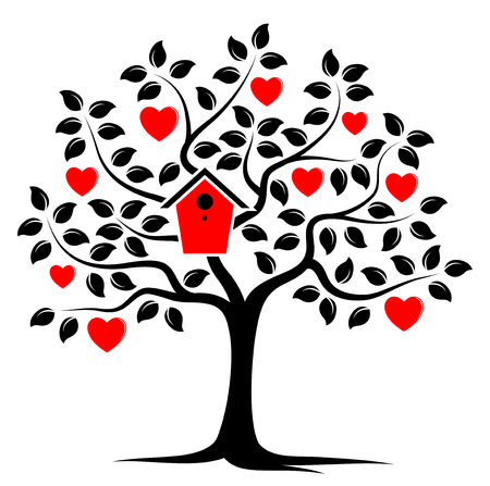 nesting: vector heart tree with nesting bird box isolated on white background