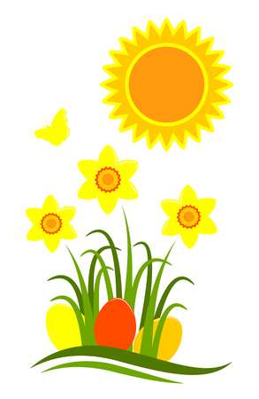 tuft: vector clump of daffodils and easter eggs isolated on white background Illustration