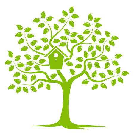 bird box: vector tree with nesting bird box isolated on white background Illustration