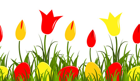 tuft: seamless vector border with tulips and easter eggs in grass isolated on white background