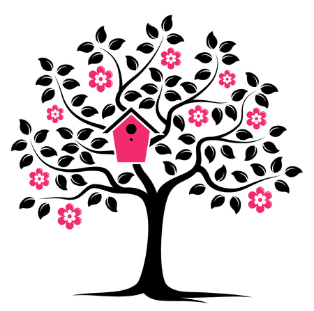 nesting: vector flowering tree with nesting bird box isolated on white background Illustration