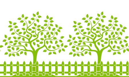 picket green: vector seamless border with trees behind picket fence isolated on white background