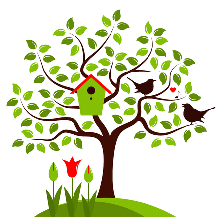 bird box: vector tree with nesting bird box and couple of birds isolated on white background
