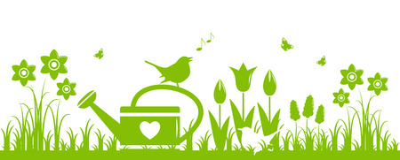 tuft: vector spring flowers, watering can and birds isolated on white background Illustration