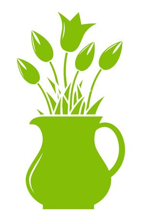 tulips isolated on white background: vector tulips in pitcher isolated on white background Illustration