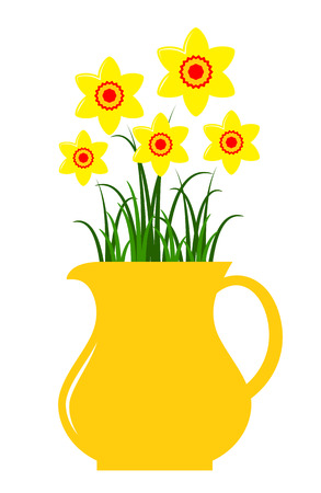 pitcher: vector daffodils in pitcher isolated on white background