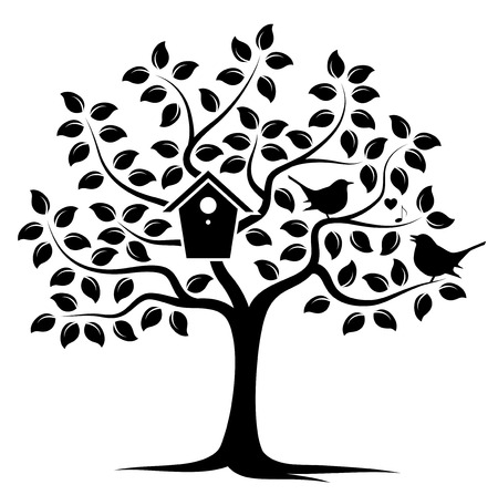 love tree: vector tree with nesting bird box and couple of birds isolated on white background