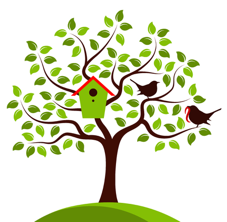 bird box: vector tree with nesting bird box and mother bird and baby bird isolated on white background