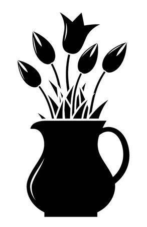 tulipanes de vectores en jarra aislados en fondo blanco