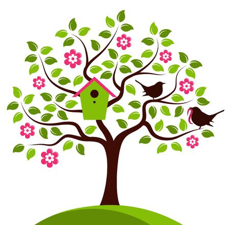 bird box: vector flowering tree with nesting bird box and mother bird and baby bird isolated on white background