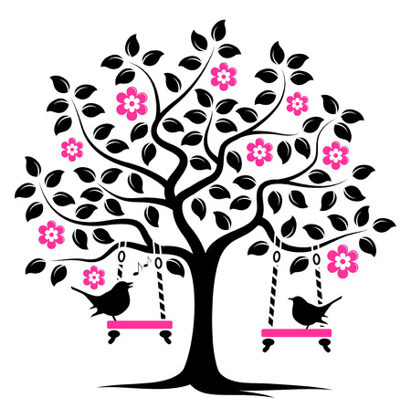 tree with birds: vector flowering tree with swings and couple of birds isolated on white background