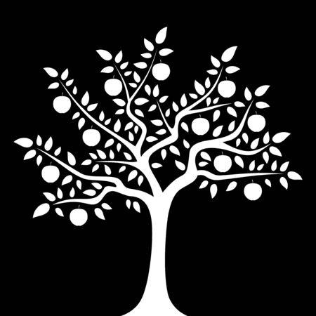 apple tree isolated: vector apple tree isolated on black background