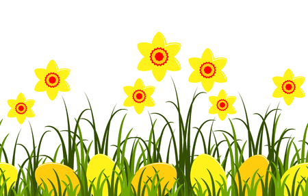 spring bed: seamless vector border with daffodils and easter eggs in grass isolated on white background