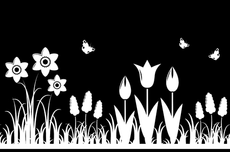 spring bed: vector seamless spring flowers border isolated on black background Illustration