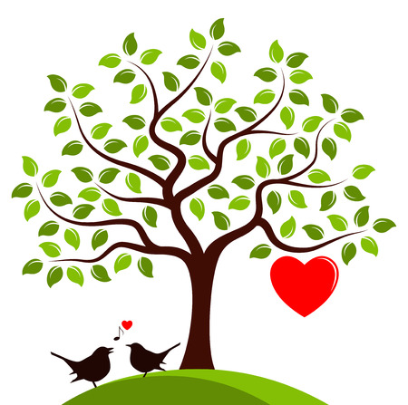 birds in tree: vector heart tree with one big heart and couple of birds isolated on white background Illustration