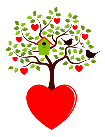 bird box: vector heart tree with nesting bird box growing from heart and couple of birds isolated on white background