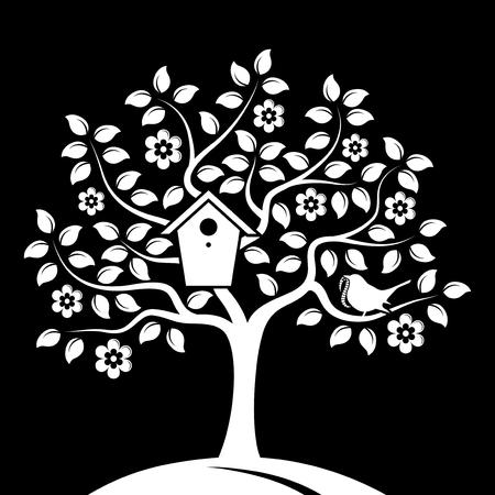 bird box: vector flowering tree with nesting bird box and bird bringing worm isolated on black background