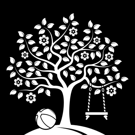ball park: vector flowering tree with swing and ball isolated on black background Illustration