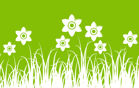 spring bed: seamless vector daffodils border isolated on green background