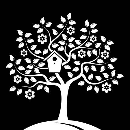 bird box: vector flowering tree with nesting bird box isolated on black background