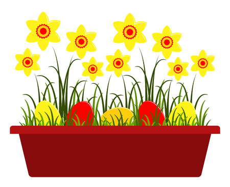 planter: vector daffodils and easter eggs in planter isolated on white background