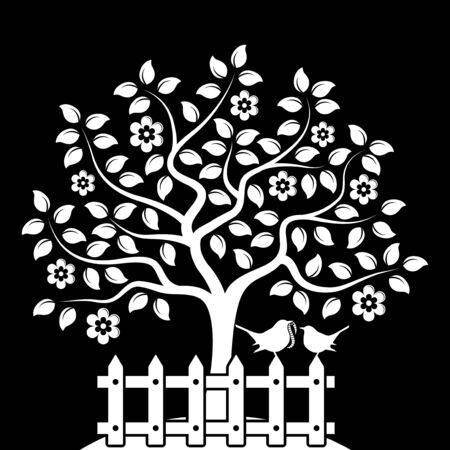 picket fence: vector flowering tree and picket fence with mother bird and baby bird isolated on black background Illustration