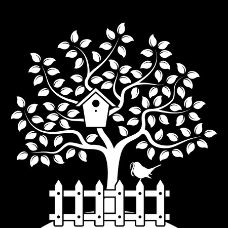 picket fence: vector tree with nesting bird box and picket fence with bird isolated on black background