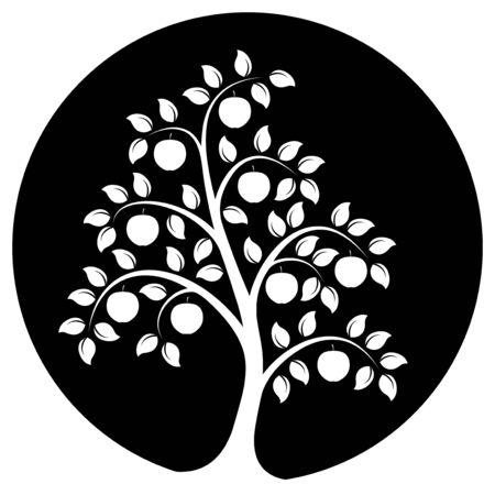 apple tree isolated: vector apple tree isolated on black round Illustration