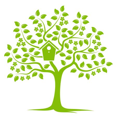 bird box: vector flowering tree with nesting bird box isolated on white background Illustration