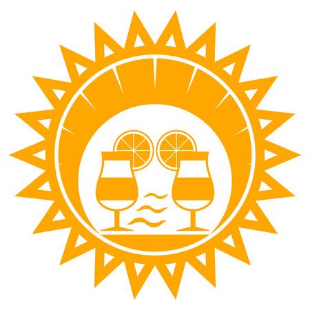 sun beach: vector beach cocktails in sun isolated on white background