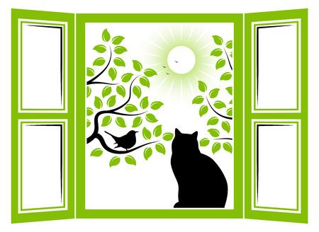 Vektor Katze im Fenster und Bäume mit Vogel vor dem Fenster