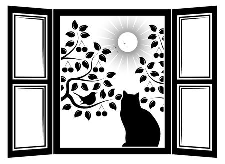vettore gatto tra gli alberi delle finestre e ciliegio con uccello fuori dalla finestra