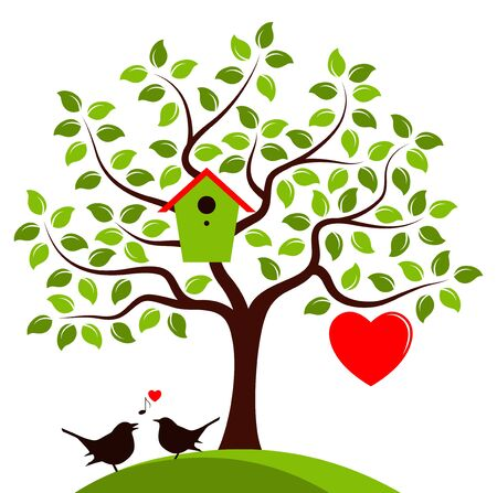 nesting: vector couple of birds and heart tree with nesting bird box and one big heart isolated on white background Illustration