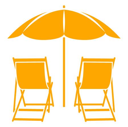 tumbonas vector bajo el paraguas de playa aislada en el fondo blanco