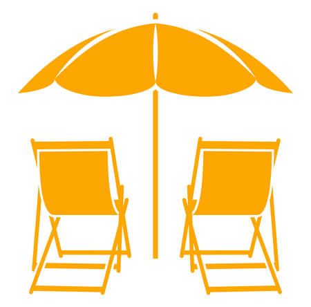 strandstoel: vector ligstoelen onder parasol op een witte achtergrond