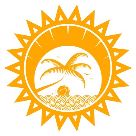 sun beach: vector palm tree and beach ball floating on the waves in sun isolated on white background