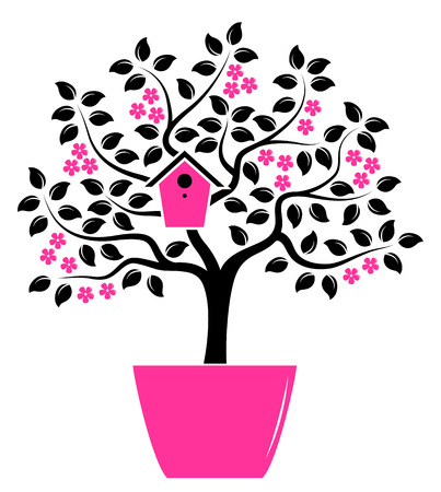 nesting: vector flowering tree with nesting bird box in pot isolated on white background Illustration