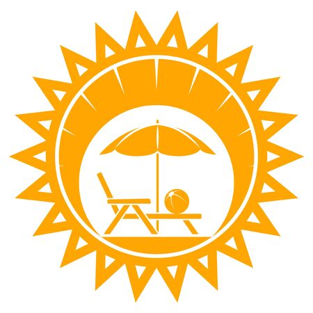 deck chair isolated: vector beach umbrella and deck chair in sun isolated on white background Illustration