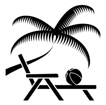deck chair isolated: vector palm tree and deck chair isolated on white background